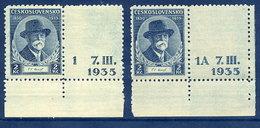 CZECHOSLOVAKIA 1935 Masaryk 2 Kc With Labels LHM / *.  Michel 334 - Czechoslovakia