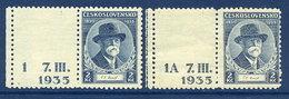 CZECHOSLOVAKIA 1935 Masaryk 2 Kc With Labels MNH / **.  Michel 334 - Czechoslovakia