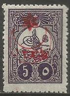 Turkey - 1915 Tughra Overprint 5pi MH *    Mi 299  Sc 315A - 1858-1921 Empire Ottoman