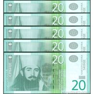 TWN - SERBIA 55b - 20 Dinara 2013 DEALERS LOT X 5 - Low Serial 000XXXX - Prefix AA UNC - Serbia
