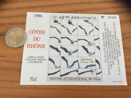 Etiquette Vin 1986 Numérotée «CÔTES-DU-RHÔNE - 40e FESTIVAL DU FILM CANNES 87 - CAIRANNE (84)» (cinéma) - Côtes Du Rhône
