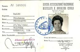 "1930 "" TESSERA 1973-LIBERA ASS. NAZ. MUTILATI E INVAL. CIVILI "" TESSERA ORIGINALE - Vecchi Documenti"