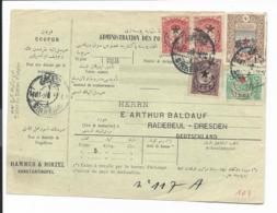 Türkei - Paketkarte - Bunte MiF Ab Sirkeuji (Konstantinopel) - 1858-1921 Empire Ottoman