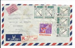Indonesien MiF Auf Luftpost-Einschreiben-Bedarfsbrief Mit Rückschein Von Sumedang Nach Strassburg 1969 - Indonésie