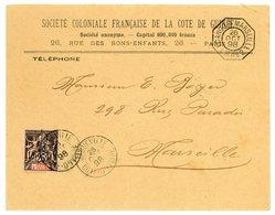 COTE D'IVOIRE ENV 1898 JAQUEVILLE SUR N°8 SEUL LETTRE PAQUEBOT LA REUNION A MARSEILLE L.M. N°2  => MARSEILLE - Côte-d'Ivoire (1892-1944)