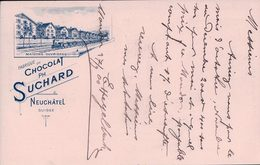 Publicité, Entier Postal Suisse Chocolat Suchard, Tampon E. Hegelbach Farines Maïs,  Moudon - Serrières NE (27.9.1900) - Entiers Postaux