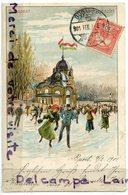 -  Hongrie - Budapest, Place, Patins à Glace, épaisse, Précurseur, 1901, écrite, TBE, Scans. - Hongrie