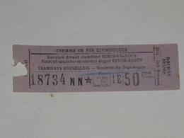 Ancien Ticket Tramway, Bruxelles Belgique. Chemins De Fer économiques. Ticket Autobus, Train, Metro. - Tramways