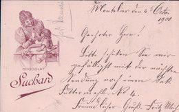 Publicité, Entier Postal Suisse Chocolat Suchard, Murten - Serrières NE (4.10.1900) - Entiers Postaux