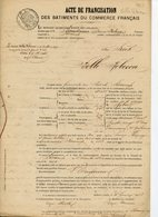 """ACTE DE FRANCISATION 1853 DU BRICK """"BELLE REBECCA"""" DE FECAMP APPARTENANT A BAUDOUIN. AVEC LETTRE A BORDEAUX ET TIMBRE - Bateaux"""