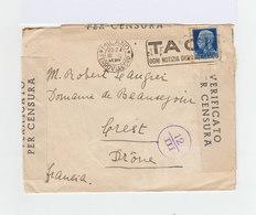 Sur Enveloppe Italie V.E. III Oblitéré Taci. CAD Milan Ferroviacorr 1941. Ouverte Par La Censure. (929) - 1900-44 Victor Emmanuel III