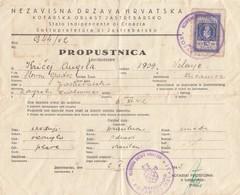 1942 CROATIA NDH PROPUSTNICA FREE PASS TRAVEL PERMIT AUSWEIS DOCUMENT W 10 KN REVENUE STAMP - Croatie