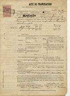 """ACTE DE FRANCISATION 1893 DU BRICK """"ADELAÏDE"""" DE NANTES APPARTENANT A LE BIHAN. AVEC LETTRE DE BORDEAUX ET TIMBRE - Bateaux"""