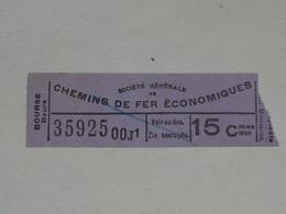 Ancien Ticket Tramway, Bruxelles Belgique. Chemins De Fer économiques.Ticket Autobus,Train, Metro. - Tram