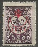 Turkey - 1915 Tughra Overprint 5pi MH *    Mi 310  Sc 322 - 1858-1921 Ottoman Empire