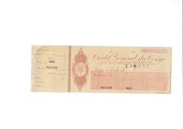 Cheque Du Credit Genéral Du Congo - Assegni & Assegni Di Viaggio