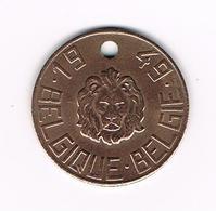 &  BELGISCHE  NATIONALE  HONDENBELASTINGPENNING  1949  LEEUWENKOP  N°498753 - België