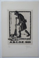 Ex-libris Illustré Belgique XXème -  Sigle ABCDE (Association Belge Des Collectionneurs D'Ex-Libris)-Squelette Au Balais - Ex Libris