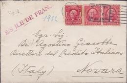 """694 * USA * Lettera Via Di Mare Del 1932 Dagli USA Per Novara Con Il Vapore """"Ille De France"""" , Affrancata Con Coppia Was - Trasporti"""
