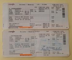 2012 RENFE ESPAÑA. 2 TICKET INTERCITY + AVE. - Railway