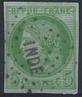 Colonies Générales Postes N° 17 5c Cérès Vert Sur Azuré Oblitéré Losange Inde TB Qualité: Obl Cote: 60 € - Cérès