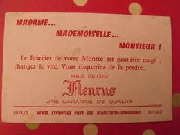Buvard Bracelet De Montre Fleurus; Bijoutier Horloger. Bijouterie Vers 1950 - Buvards, Protège-cahiers Illustrés