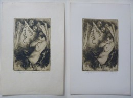 2 -libris Illustrés Belgique XXème -  Sigle ABCDE (Association Belge Des Collectionneurs D'Ex-Libris- Femme Nue - Ex Libris