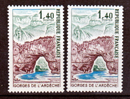 France 1687 Variétés Gomme Tropicale Et Normal Peu Visible Sur Scan Gorges De L'ardeche Neuf ** TB MNH Sin Charnela - Varietà: 1970-79 Nuovi
