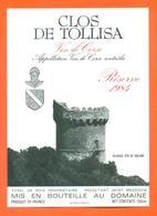 étiquette Vin De Corse Clos De Tollisa Reserve 1984 Tyrel De Poix à Mezzavia - 75 Cl - Vin De Pays D'Oc
