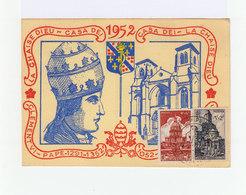 Sur Carte Illustration Et Cachet Commémoratif IXe Centenaire Abbaye La Chaise Dieu Juin 1952. Illustration. (933) - Marcophilie (Lettres)