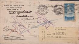 """692 * USA Lettera Via Di Mare Da New York Per Londra Con Il Vapore """"Bremen"""" . Ritornata Al Mittente. SPL - Trasporti"""