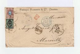 Sur Enveloppe Timbres Empire Russe Armoiries: 10 K. Et 3 K. CAD Odessa 1875. Cachet D'entrée Bleu Erquelines. (936) - 1857-1916 Empire