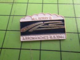 1417 Pin's Pins /  Belle Qualité Et Rare / THEME MILITARIA : D-DAY NORMANDIE MULBERRY 6 ARROMANCHES 6/6/44 - Army