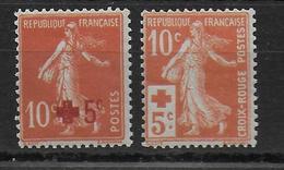 SEMEUSE CROIX-ROUGE - YVERT N° 146/147 * MLH (CHARNIERE LEGERE) - COTE = 46 EUR. - 1906-38 Semeuse Camée