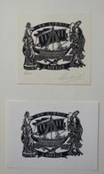 2 Ex-libris Illustrés Belgique XXème - J. MEUS - Bateau - Ex-libris