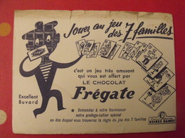 Buvard Chocolat Frégate. Usines Damoy. Jeu Des 7 Familles. Vers 1950 - Chocolat