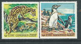 Comores P.A.  N° 119 / 20 X Animaux En Voie De Disparition ( II) : Ocelot Et Manchot Trace De Charnière Sinon TB - Comores (1975-...)