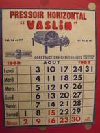 Buvard Pressoir Horizontal Vaslin. Constructions Chalonnaises. Chalonnes Sur Loire (Maine Et Loire). Calendrier 1953 - Buvards, Protège-cahiers Illustrés