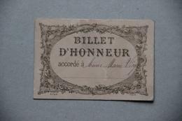 Billet D'Honneur (scolaire) - Diplômes & Bulletins Scolaires
