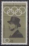 Germania 1968 Sc. B434 Carl-Friedrich Von Langen Equitazione Ippica 2 Oro Dressage Amsterdam 1928 Nuovo MNH - Estate 1928: Amsterdam