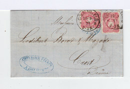 Sur Pli Deux Timbres 10 P. Rose Carmin CAD Colmar Els. 1877. CAD Ambulant Lyon Mars. (938) - Lettres & Documents