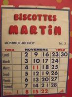 Buvard Biscottes Martin. Montreuil-Belfroy (Maine Et Loire). Calendrier 1953 - Biscottes