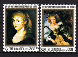 Comores P.A.  N° 123 / 24 X 400è Ann. De La Naissance De Rubens, Les 2 Vals Trace De Charnière Sinon TB - Comores (1975-...)