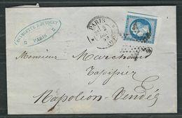 FRANCE N° 14  Obl. S/lettre étoile Muette N° 99  Paris Bureau Central. - 1853-1860 Napoleone III