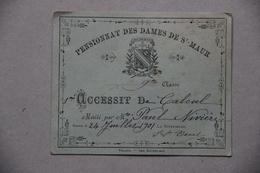 Pensionnat Des Dames De St-Maur à Toulon (Var), Accessit De Calcul, 1901 - Diplômes & Bulletins Scolaires