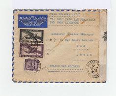 Sur Enveloppe Par Avion Deux Timbres Indochine Poste Aérienne Et Un Monument CAD 1940 Saîgon Central Cochinchine. (939) - Indochine (1889-1945)