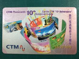 MACAU CTM PHONECARDS 10TH ANNIVERSARY SPECIAL ISSUE. - Macau