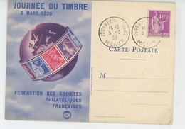 TIMBRES - FÉDÉRATION DES SOCIÉTÉS PHILATELIQUES FRANÇAISES - JOURNÉE DU TIMBRE 5 MARS 1939 - Timbres (représentations)