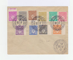 Sur Enveloppe Série Gouvernement Provisoire. Cachet Commémoratif Exposition Imagerie Populaire Toulouse 1944. (940) - Marcophilie (Lettres)