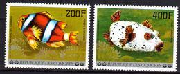 Comores P.A.  N° 128 / 29  X Poissons De L'archipel Des Comores, Les 2 Valeurs Trace De Charnière Sinon TB - Comores (1975-...)